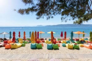 Agia Eleni - colourful loungers and parasols