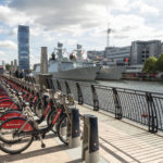 Santander sponsored London bicycles at Canary Wharf in London