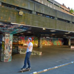 Young skateboarder in London South Bank Skatepark activities in London